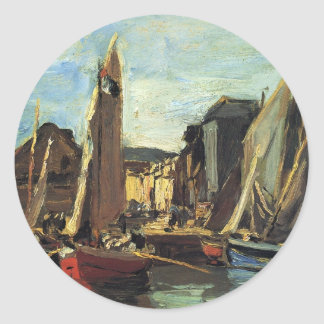 The Entrance to the Port of Honfleur Eugene Boudin Classic Round Sticker