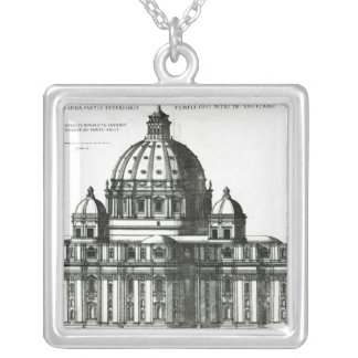 The Exterior of St. Peter's Basilica in Rome Silver Plated Necklace