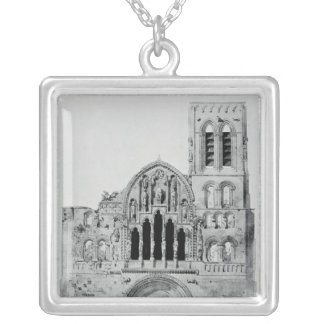 The Facade of La Madeleine de Vezelay Silver Plated Necklace