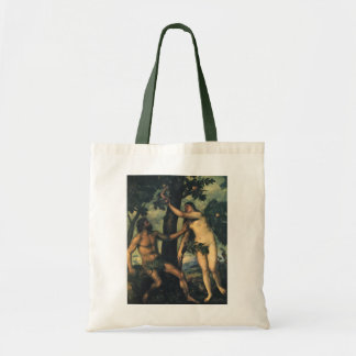 The Fall of Man; Adam and Eve by Titian Tote Bag
