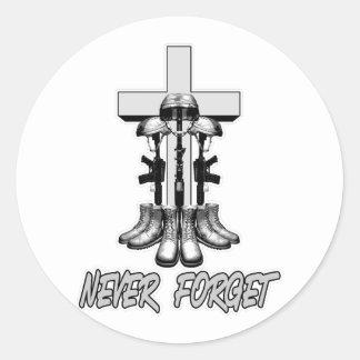 The Fallen Soldier Battle Cross Classic Round Sticker