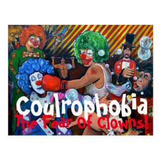 The fear of clowns postcard