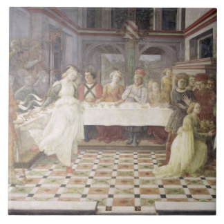 The Feast of Herod (fresco) (see also 60432) Large Square Tile