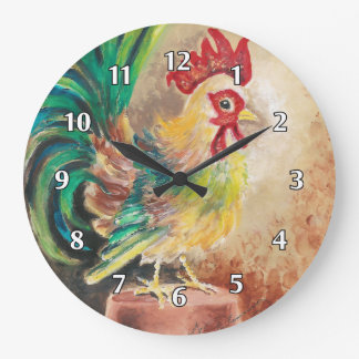 The Finger Painted Cockerel Wall Clock
