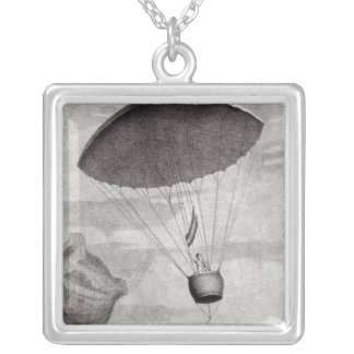 The First Parachute Descent Silver Plated Necklace