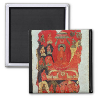 The First Sermon of Buddha Square Magnet