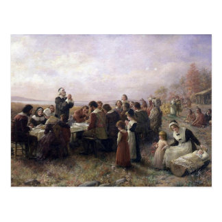 The First Thanksgiving at Plymouth by Brownscombe Postcard