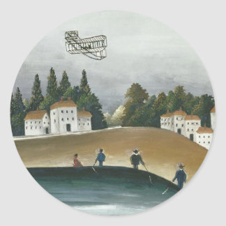 The Fishermen and the Biplane by Henri Rousseau Classic Round Sticker