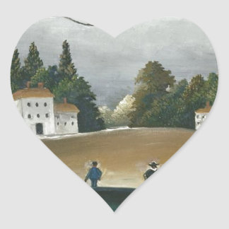 The Fishermen and the Biplane by Henri Rousseau Heart Sticker