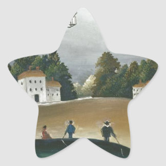 The Fishermen and the Biplane by Henri Rousseau Star Sticker