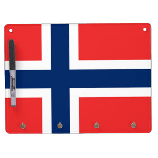 The Flag of Norway - Scandinavia Dry Erase Board With Key Ring Holder