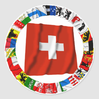 The Flags of the Cantons of Switzerland Classic Round Sticker
