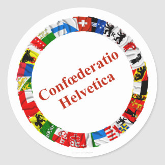 The Flags of the Cantons of Switzerland, Latin Classic Round Sticker