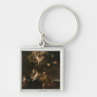 The Flight into Egypt Silver-Colored Square Key Ring