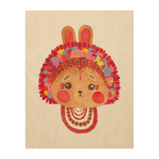 The Flower Crown Bunny Wood Print