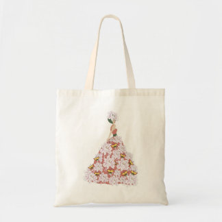 The flower dress budget tote bag