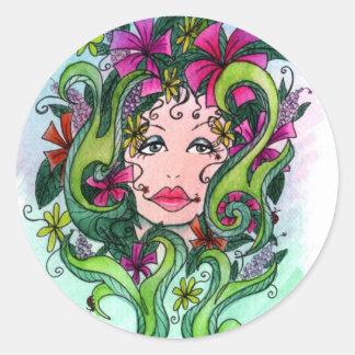 The Flower Maiden Classic Round Sticker