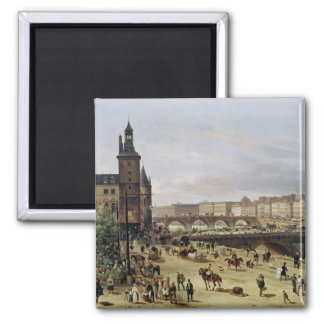 The Flower Market, 1832 Square Magnet