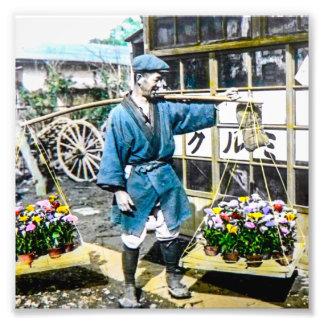 The Flower Merchant in Old Japan Vintage Photo Art