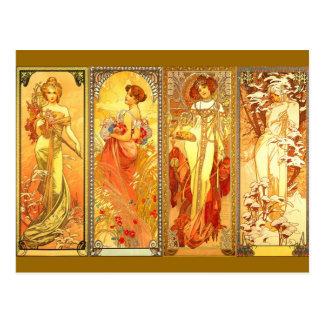 the Four Seasons - Art Nouveau Postcard