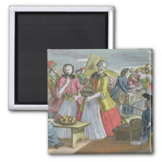 The Fruit Market (coloured engraving) Square Magnet