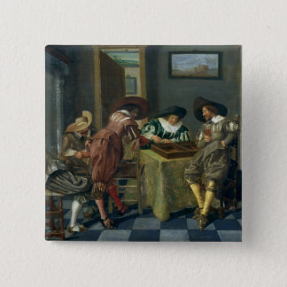 The Game of Backgammon 15 Cm Square Badge