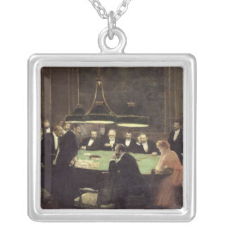 The Gaming Room at the Casino, 1889 Silver Plated Necklace