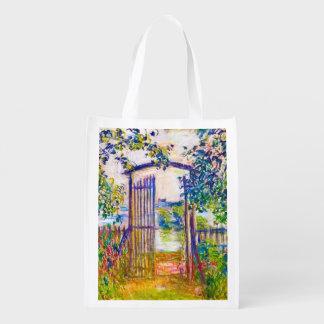 The Garden Gate at Vetheuil Claude Monet art Reusable Grocery Bag