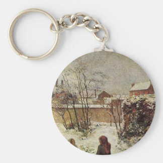 The garden in winter, rue Carcel by Paul Gauguin Key Ring