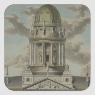 The German Cathedral on the Gendarmenmarkt, 1812 Square Sticker