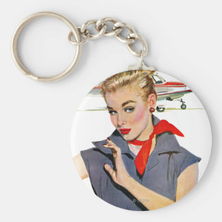 The Girl Who Stole Aeroplanes Basic Round Button Key Ring