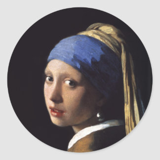 The Girl With A Pearl Earring by Johannes Vermeer Classic Round Sticker