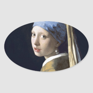 The Girl With The Pearl Earring Oval Sticker
