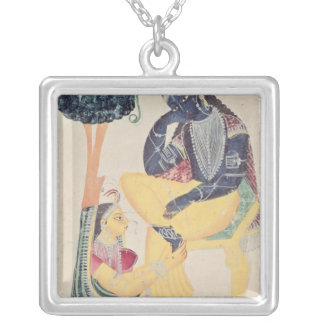 The God Krishna with his mortal love, Radha Silver Plated Necklace