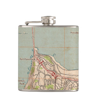 The Golden Gate Topographic Map Hip Flask