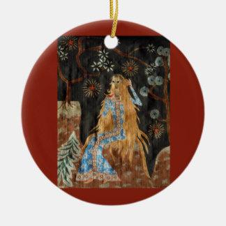 The Golden Hair Ornament - Ceramic Round