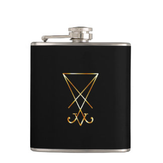 The golden sigil of Lucifer Hip Flask