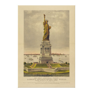 The Great Bartholdi Statue by Currier & Ives 1885 Gallery Wrap Canvas