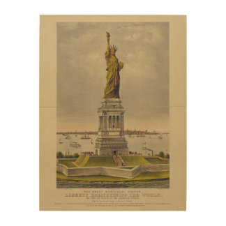 The Great Bartholdi Statue by Currier & Ives 1885 Wood Canvas