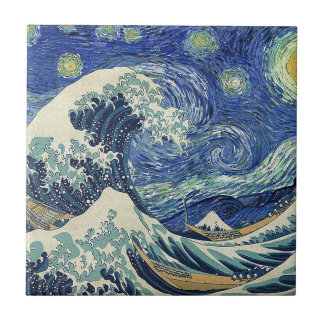 The Great Wave Off Kanagawa - The Starry Night Small Square Tile