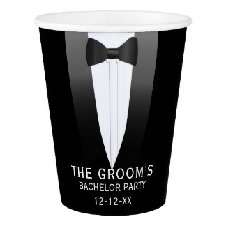 The Groom Black Tuxedo Bachelor Party Paper Cup