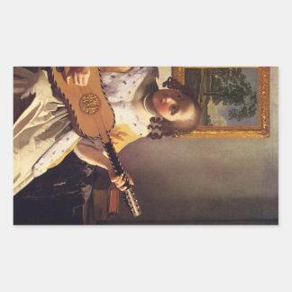 The guitar player by Johannes Vermeer Rectangular Sticker