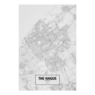 The Hague, Netherlands (black on white) Poster