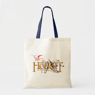 The Hobbit Logo Over Mountains Tote Bag