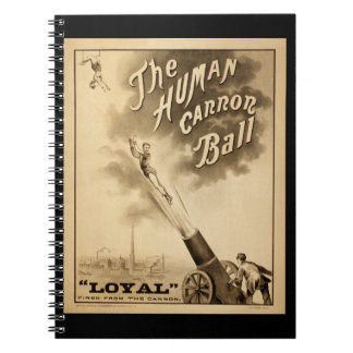 The Human Cannon Ball Vintage Circus Act Victorian Note Books
