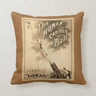 The Human Cannonball Vintage Circus Advertisement Cushions