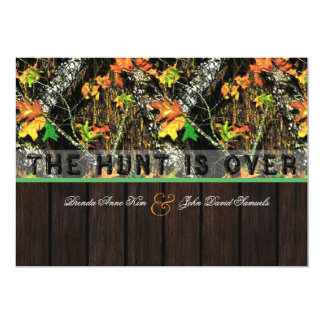 The Hunt Is Over Camo Wood Wedding Invitations