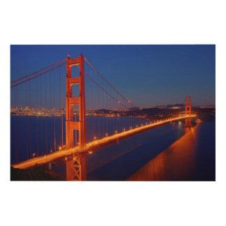 The iconic bridge with San Francisco Wood Print