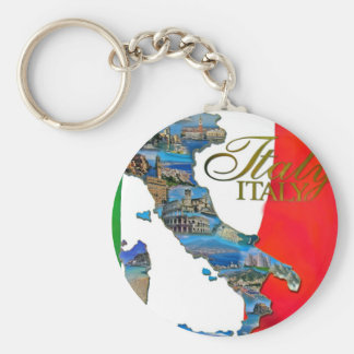 "The Italian ""Boot"" Basic Round Button Key Ring"