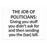 The job of politicians postcard
